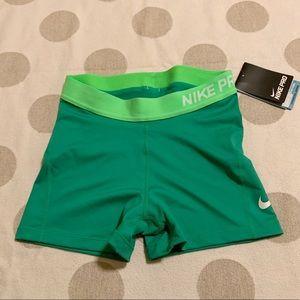 Nike Pro Green Spandex Dri Fit Shorts
